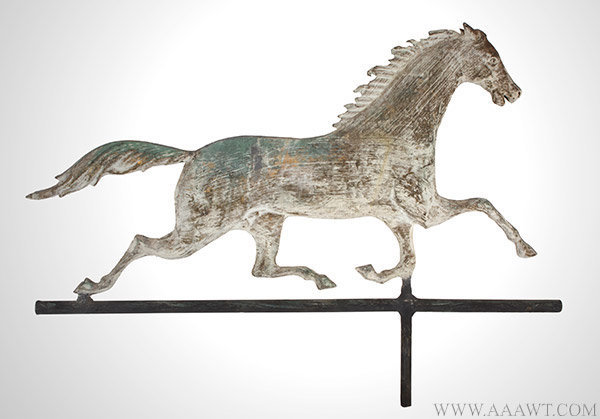 Antique Running Horse Weathervane in Old Honest White Paint, Late 19th Century, facing right view