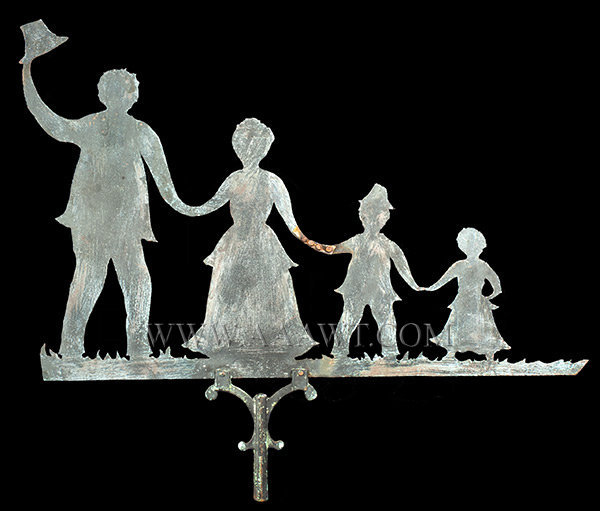 Antique Weathervane, Silhouette of Family Holding Hands, First Half 20th Century, entire view