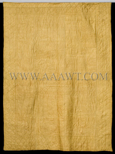 Antique Quilt, Wedding Gift, Gold Silk Whole Cloth, entire view