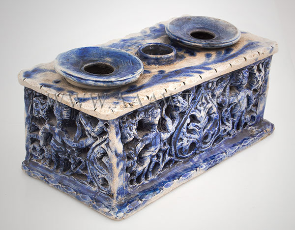 Westerwald Inkstand, Gray Salt Glazed Stoneware Brushed in Blue
