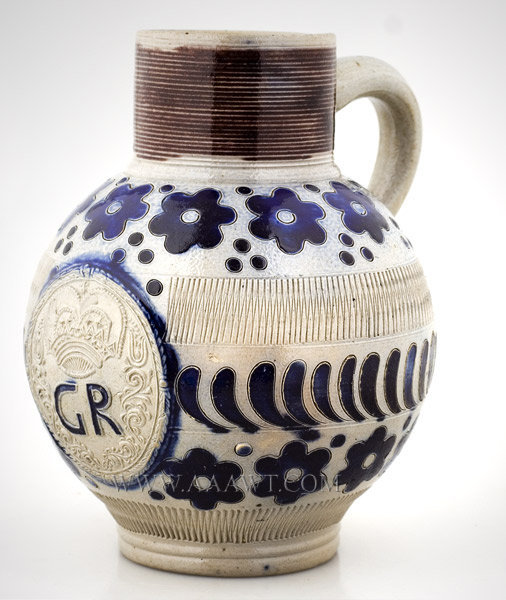 Westerwald, Salt Glazed Jug, Royal Cypher, Cobalt and Manganese