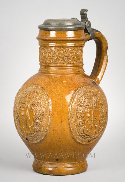 Raeren Jug, WE Monogram, Pewter Mounted