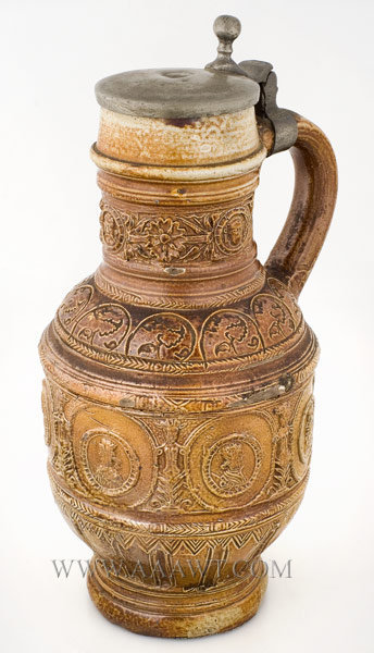 Raeren Pewter Mounted Brown Salt Glaze Stoneware Jug