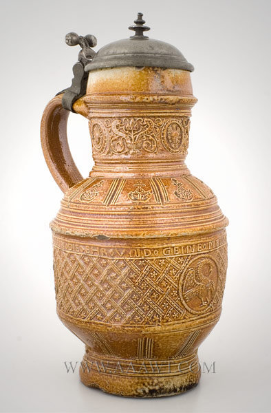 Raeren Pewter Mounted Brown Salt Glaze Stoneware Jug    17th Century, entire view