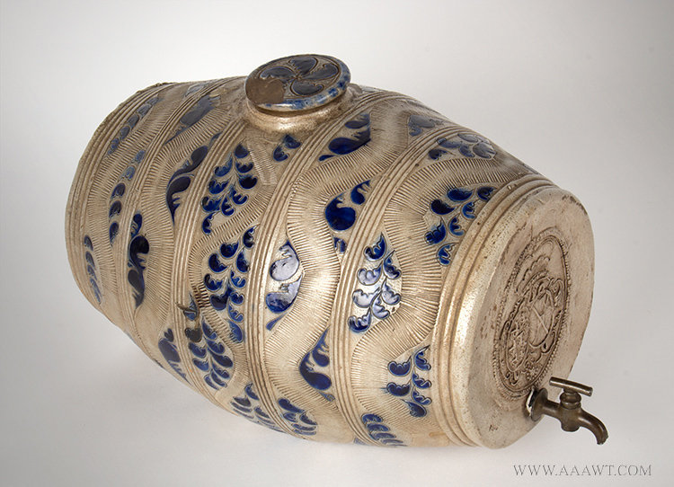 Antique Westerwald Stoneware Barrel Keg with Amazing Seal, Germany, Circa 1700, left angle view