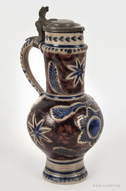 Antique Westerwald Pottery Steinzeug Krug Brushed in Cobalt and Manganese, Circa 1700, angle view 2
