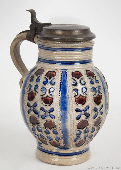 Antique Westerwald Salt Glazed Stoneware Krug, Germany, Circa 1700, angle view 1