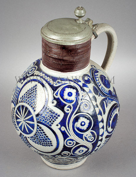 Salt Glazed Bulbous Stoneware Jug, Massive Kugelbauchkrug, Westerwald, Huge    Germany    Circa 1740 to 1760, entire view