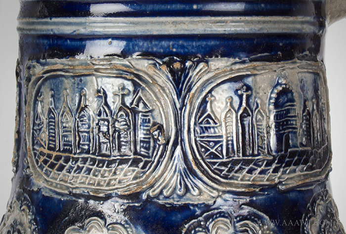 Antique Westerwald Stoneware Krug Jug with City Views, Pewter Mounted, Germany, Circa 1700, city views detail