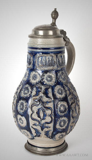 Antique Westerwald Krug Jug with City Views, Pewter Mounted, Germany, Circa 1700, right angle view