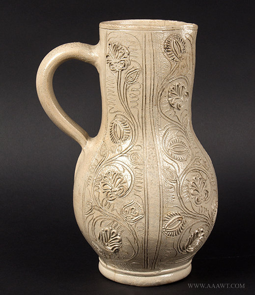 Antique Westerwald Stoneware Ewer/Pitcher, German, Mid 17th Century, side view