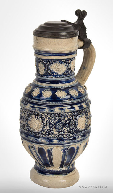 Antique Westerwald Gray and Blue Salt Glazed Jug, German, Circa 1625, angle view