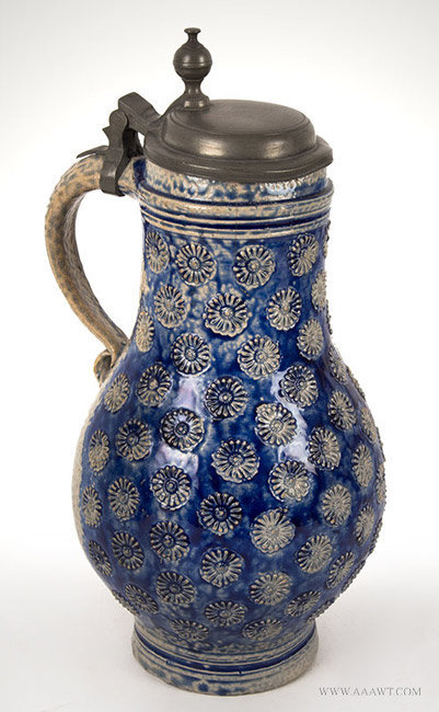 Antique Westerwald Salt Glazed Birnbauchkrug, Circa 1700, view-1_1012-109