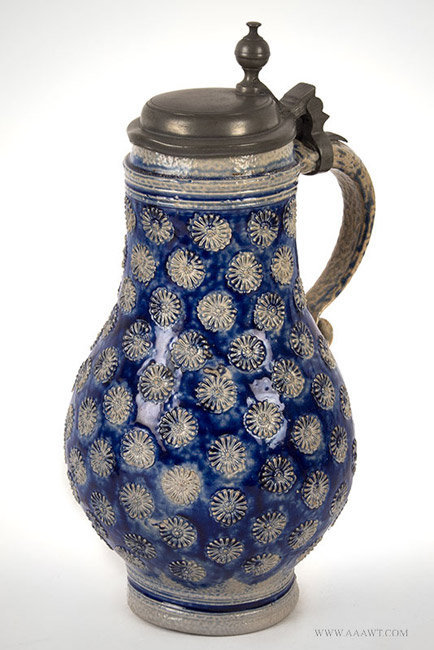 Antique Westerwald Salt Glazed Birnbauchkrug, Circa 1700, angle view 2