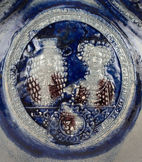 Antique Westerwald Pottery Salt Glaze Kugelbachkanne, Dated 1694,  detail