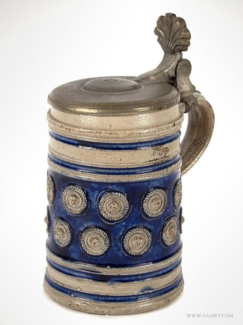 Antique Westerwald Salt Glaze Stoneware Pewter Mounted Mug, Circa 1700, angle view 1