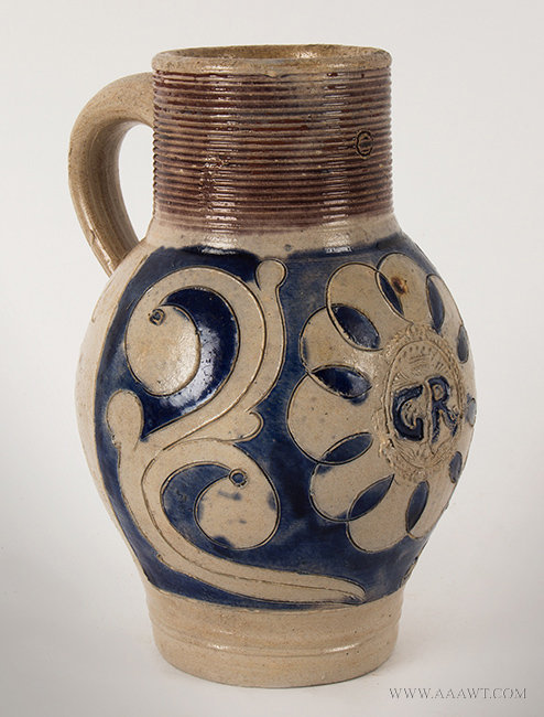 Antique Salt Glazed Westerwald Tankard with GR Cypher, Circa 1720, left angle view