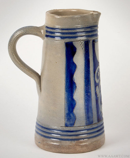 Antique Salt Glazed Westerwald Stoneware Pitcher, German, 19th Century, side view