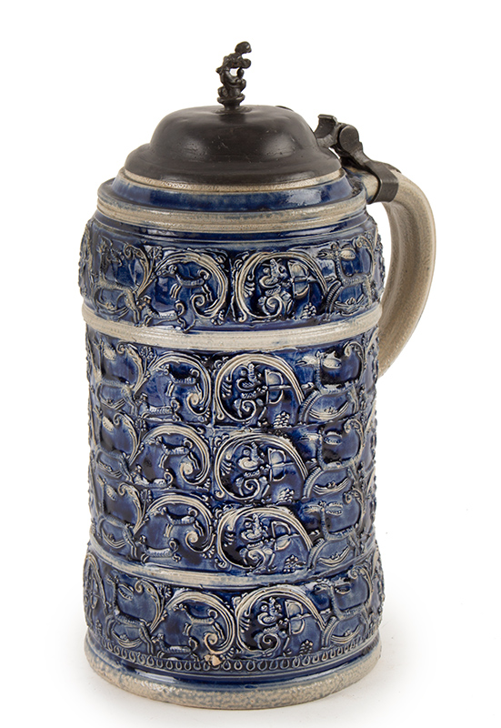 Antique Westerwald Stoneware Salt Glaze Kugelbachkanne, Dated 1694, entire view
