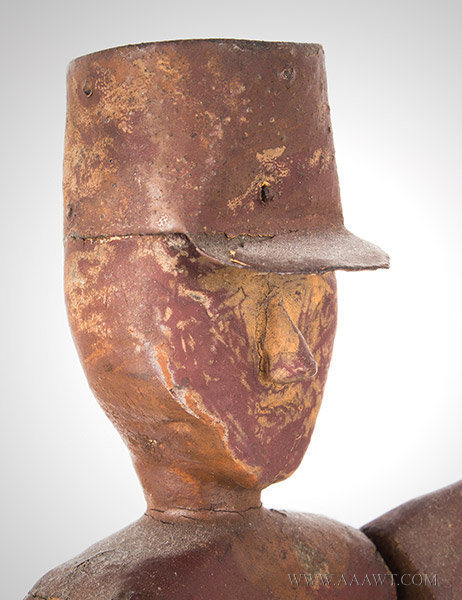 Antique Whirligig, Man with Tin Hat, American, 19th Century, head detail