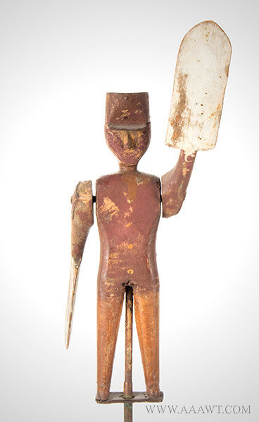 Antique Whirligig, Man with Tin Hat, American, 19th Century, front view