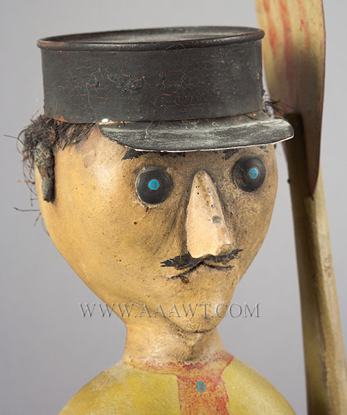 Antique Whirligig, Man in Tin Hat, Late 19th Century, head detail