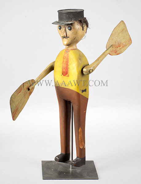 Antique Whirligig, Man in Tin Hat, Late 19th Century, angle view