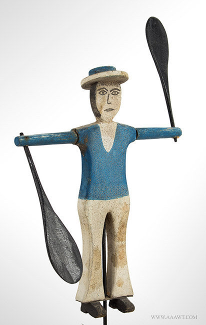 Antique Small Dewy Boy Sailor Whirligig, Carved and Painted, angle view