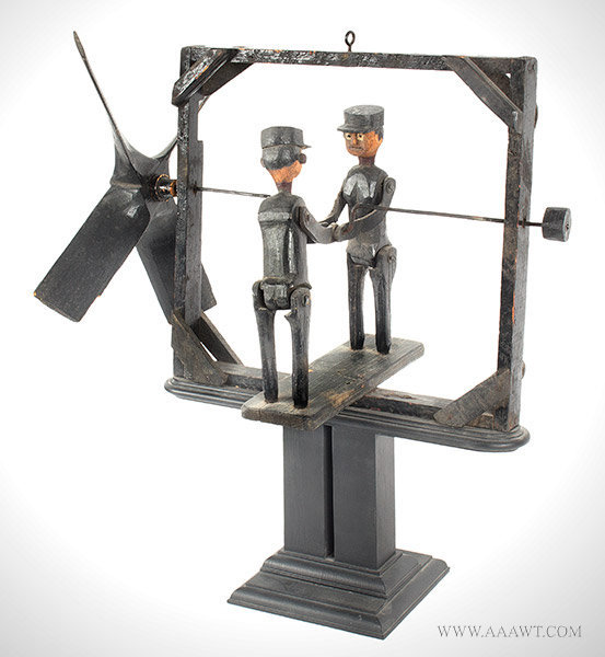 Antique Folk Art Whirligig with Two Men Wearing Caps, Circa 1900, angle view 2