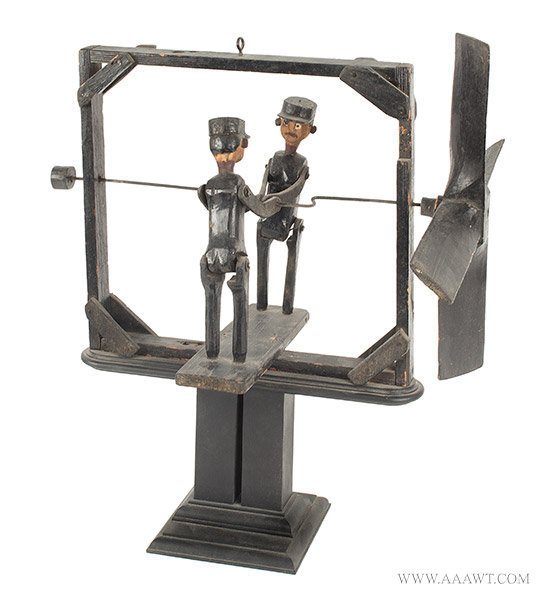 Antique Folk Art Whirligig with Two Men Wearing Caps, Circa 1900, angle view 1