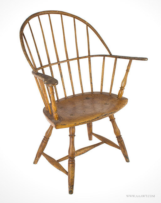 Antique Windsor Bow Back Armchair with Painted Surface History, Rhode Island, Circa 1780, angle view