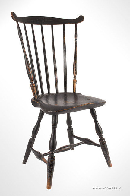 Antique Windsor Fan Back Side Chair, Likely Northern New Hampshire, Circa 1790, angle view