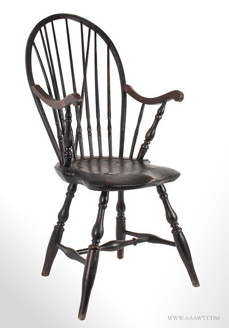 Antique Windsor Bow Back Armchair in Old Surface, Circa 1780, angle view - Antique Furniture_Chairs, Early, Pilgrim, American