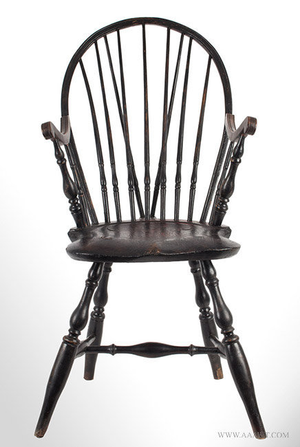 Antique Windsor Bow Back Armchair in Old Surface, Circa 1780, entire view - Antique Furniture_Chairs, Early, Pilgrim, American