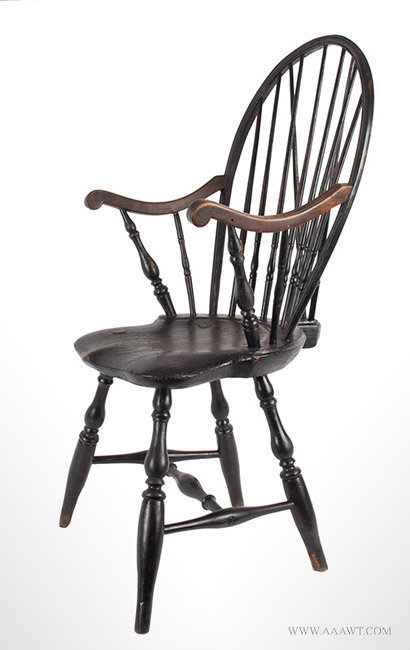 Antique Windsor Bow Back Armchair in Old Surface, Circa 1780, side view - Antique Furniture_Chairs, Early, Pilgrim, American