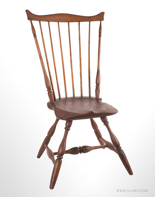 Antique Fan Back Windsor Side Chair, Circa 1780, angle view