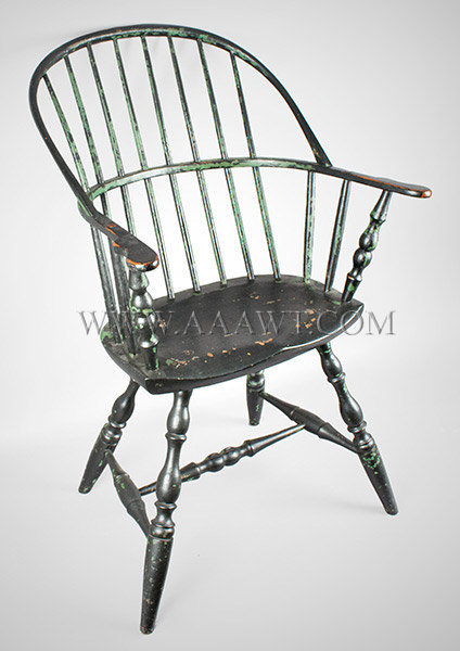 Windsor Sack Back Armchair, Old Black over Green Paint New England, probably Rhode Island Circa 1780, entire view