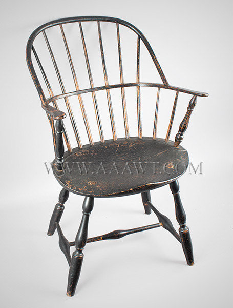 Windsor Sack Back Armchair in Old Black Paint New England Circa 1800, entire view