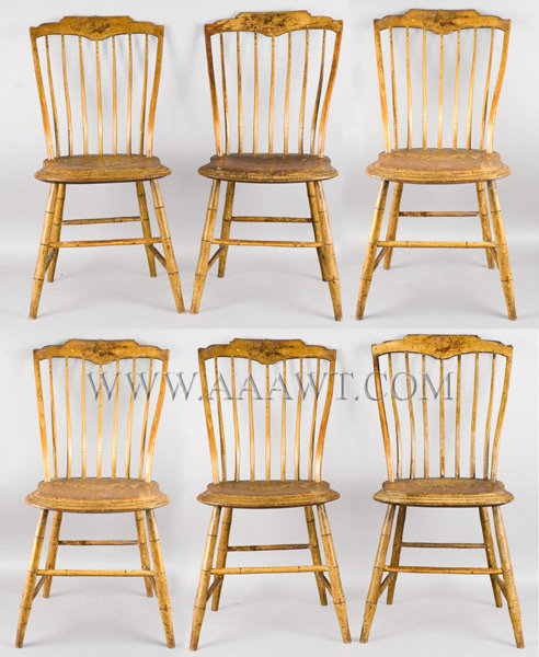 Windsor Chairs, Set, Step Down, Stylized Tablets, Original Surface, Elastic  Back Samuel Gragg, Boston Early 19th Century   SOLD