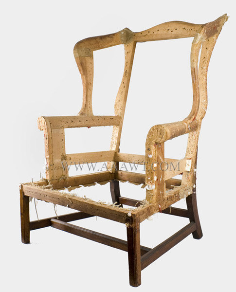 A Period Chair, Circa 1760ish; The Serpentine Cresting And Sides On  Outward Scrolling Arms; The Frame Raised On Frontal Marlborough Legs Joined  To Rear ...