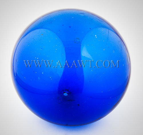 Blown Glass Witch Ball, Sapphire Blue, Six Inch  Circa 1840 to 1860  American, entire view