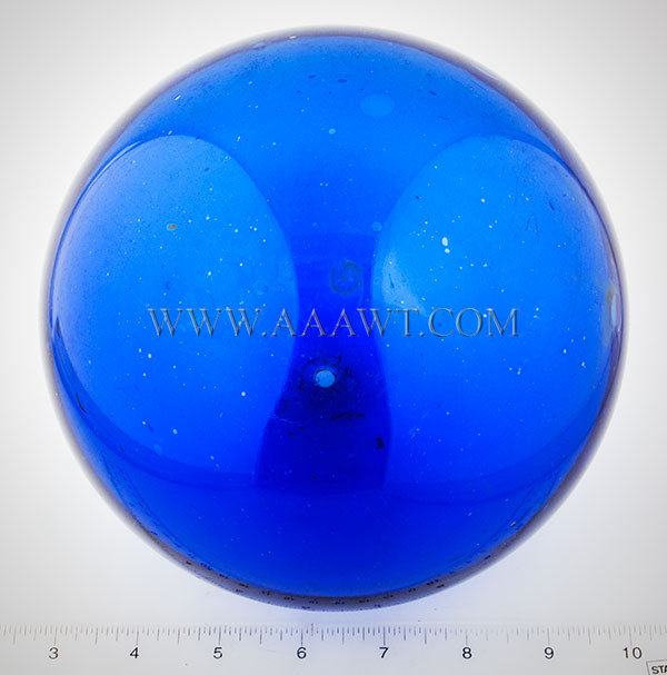 Blown Glass Witch Ball, Sapphire Blue, Six Inch  Circa 1840 to 1860  American, scale view