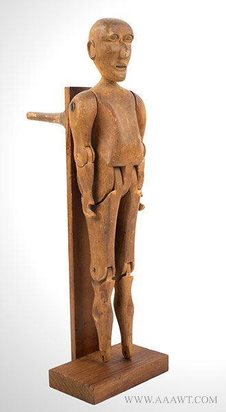 Antique Carving, Articulated Male Figure, 19th Century, angle view
