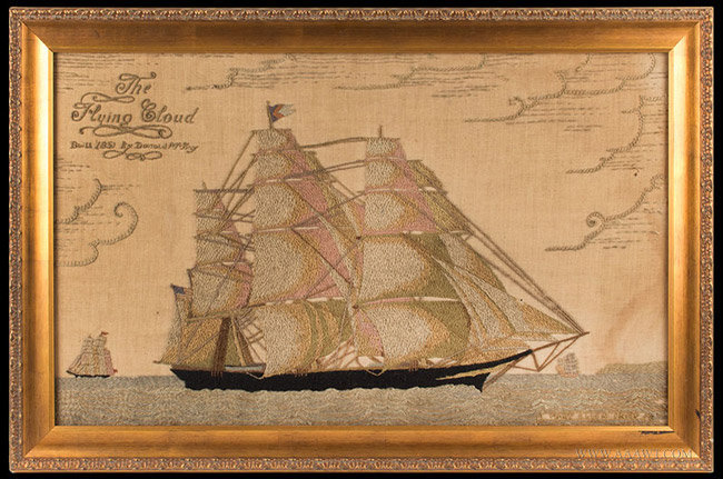 Antique Woolwork of the American Ship Flying Cloud, by Mary Ellen Crisp, Circa 1896, entire view