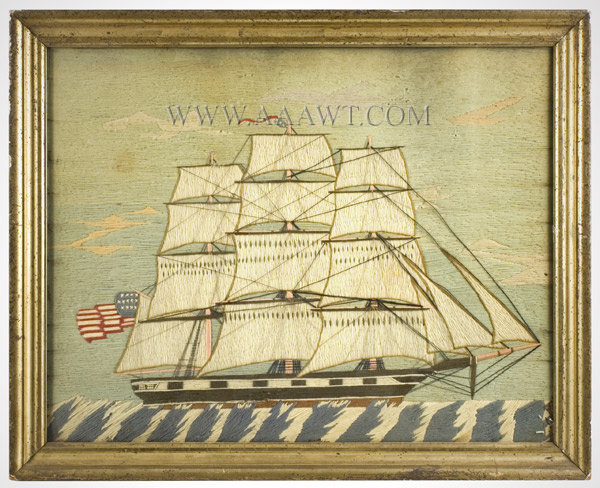 Antique Woolwork Picture, Wooly, Sailor Work, entire view