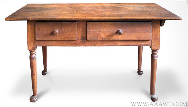 Table, Kitchen Work Table, Queen Anne, Asymmetrical Drawers, Original Surface Pennsylvania, Circa 1750ish, entire view