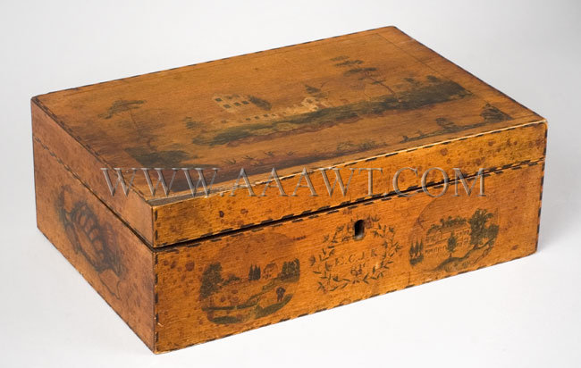 Antique Workbox, Schoolgirl Art and Paint Decorated, New England, angle view