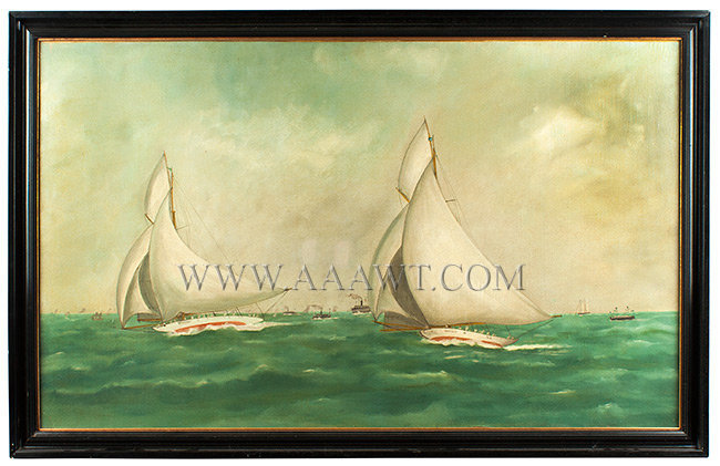 Yacht Race, America's Cup Race, Valkyrie II and Vigilant Anonymous, found on Nantucket Island Circa 1893, entire view