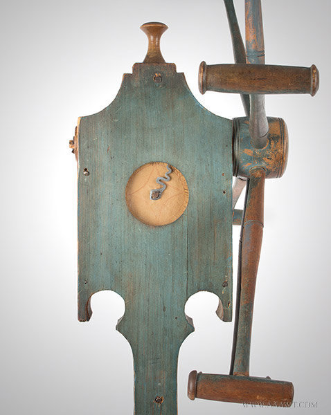 Yarn Winder; Clock Reel, Best Original Blue Paint, Inked Paper Dial, Pewter Hand New England Spinner's Weasel, Circa 1820ish, top detail 1