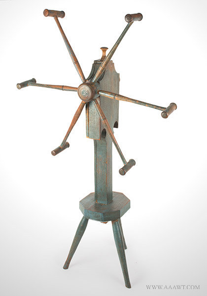 Yarn Winder; Clock Reel, Best Original Blue Paint, Inked Paper Dial, Pewter Hand New England Spinner's Weasel, Circa 1820ish, angle view 1
